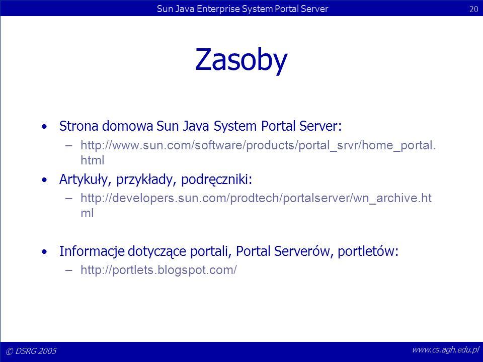 © DSRG 2005 Sun Java Enterprise System Portal Server 20 www.cs.agh.edu.pl Zasoby Strona domowa Sun Java System Portal Server: –http://www.sun.com/soft