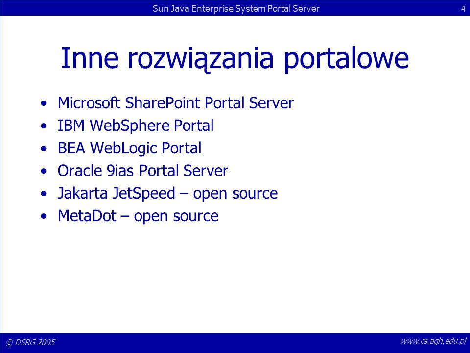 © DSRG 2005 Sun Java Enterprise System Portal Server 15 www.cs.agh.edu.pl Display Profile Definiuje: –Providerów, –kanały, –właściwości kanałów.