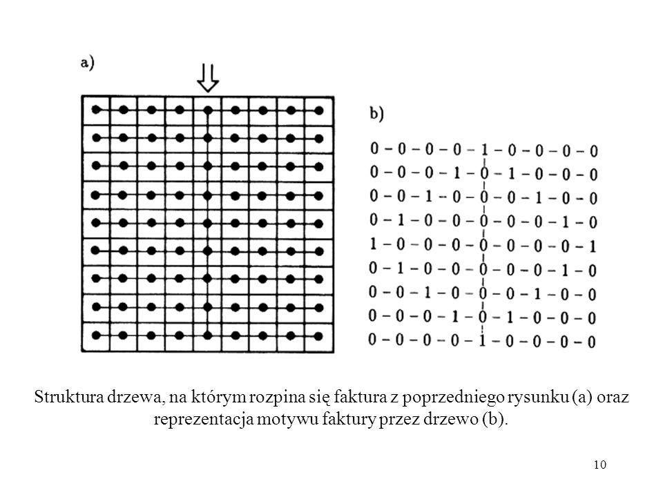 10 Struktura drzewa, na którym rozpina się faktura z poprzedniego rysunku (a) oraz reprezentacja motywu faktury przez drzewo (b).