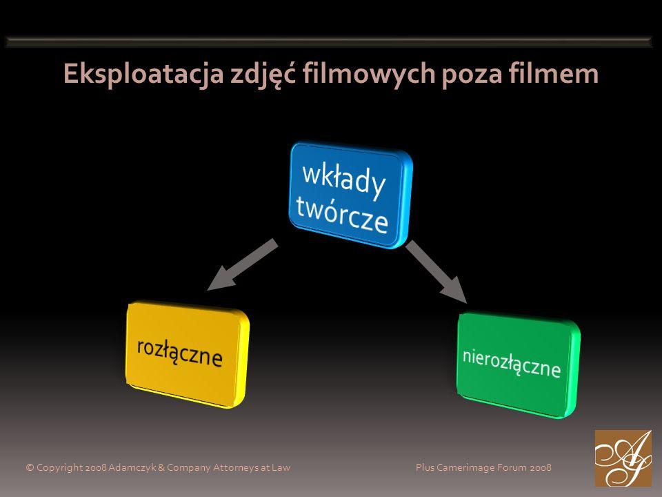 © Copyright 2008 Adamczyk & Company Attorneys at Law Plus Camerimage Forum 2008 Eksploatacja zdjęć filmowych poza filmem