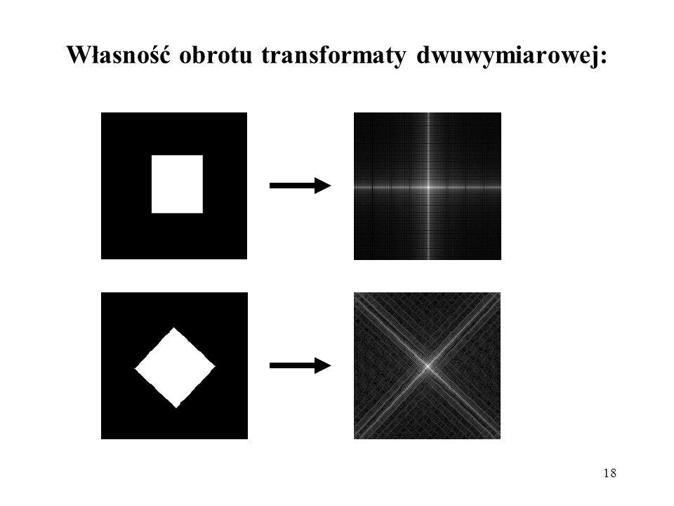 18 Własność obrotu transformaty dwuwymiarowej: