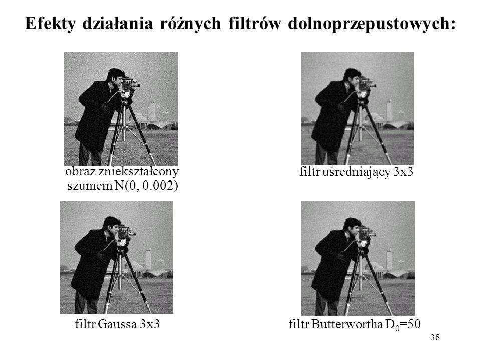 38 Efekty działania różnych filtrów dolnoprzepustowych: obraz zniekształcony szumem N(0, 0.002) filtr Gaussa 3x3filtr Butterwortha D 0 =50 filtr uśred