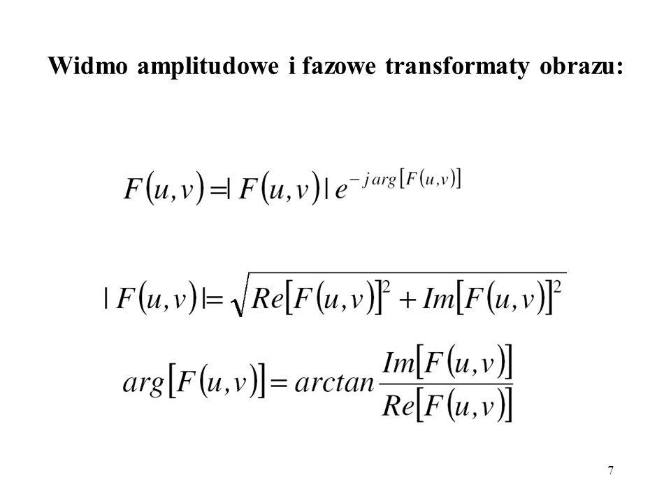 38 Efekty działania różnych filtrów dolnoprzepustowych: obraz zniekształcony szumem N(0, 0.002) filtr Gaussa 3x3filtr Butterwortha D 0 =50 filtr uśredniający 3x3