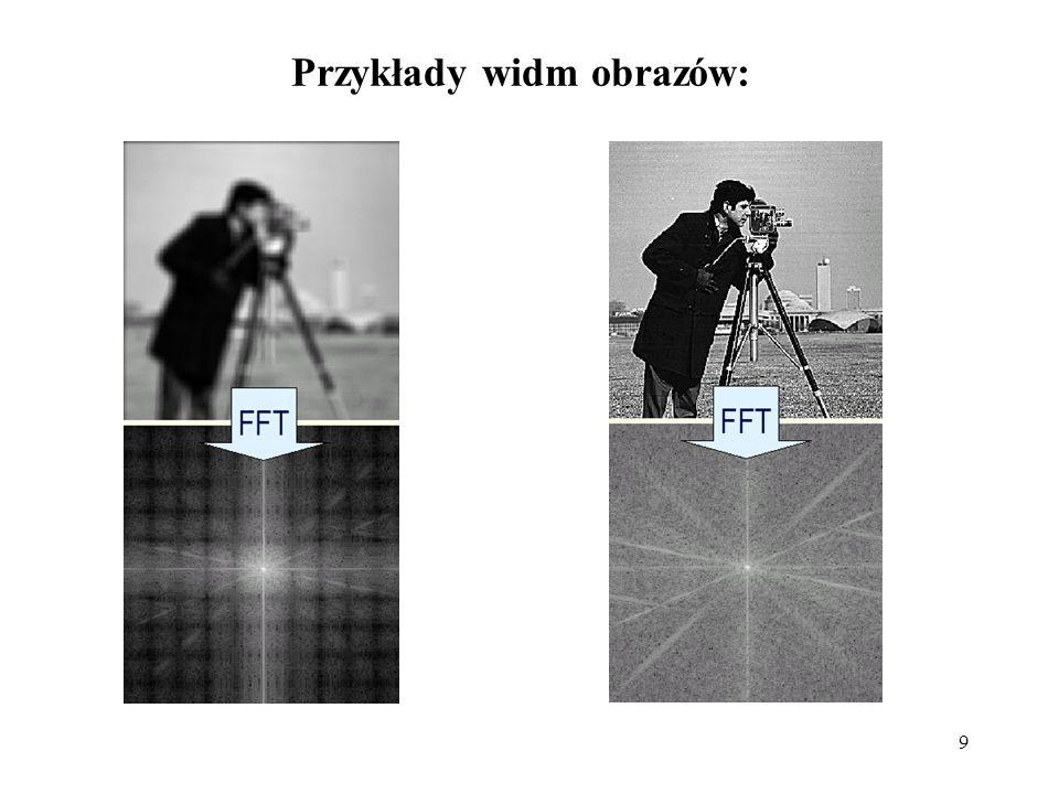 9 Przykłady widm obrazów: