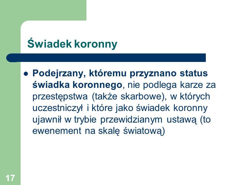 17 Świadek koronny Podejrzany, któremu przyznano status świadka koronnego, nie podlega karze za przestępstwa (także skarbowe), w których uczestniczył