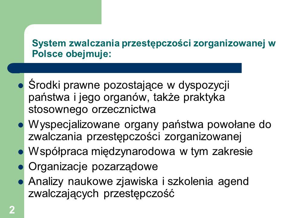 2 System zwalczania przestępczości zorganizowanej w Polsce obejmuje: Środki prawne pozostające w dyspozycji państwa i jego organów, także praktyka sto