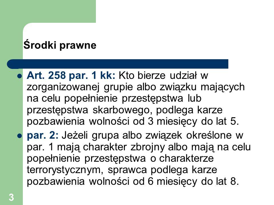 3 Środki prawne Art. 258 par. 1 kk: Kto bierze udział w zorganizowanej grupie albo związku mających na celu popełnienie przestępstwa lub przestępstwa