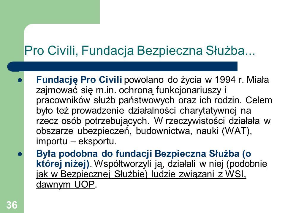 36 Pro Civili, Fundacja Bezpieczna Służba... Fundację Pro Civili powołano do życia w 1994 r. Miała zajmować się m.in. ochroną funkcjonariuszy i pracow