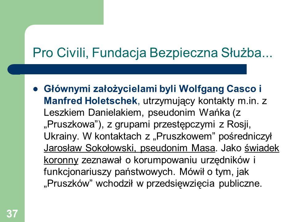 37 Pro Civili, Fundacja Bezpieczna Służba... Głównymi założycielami byli Wolfgang Casco i Manfred Holetschek, utrzymujący kontakty m.in. z Leszkiem Da