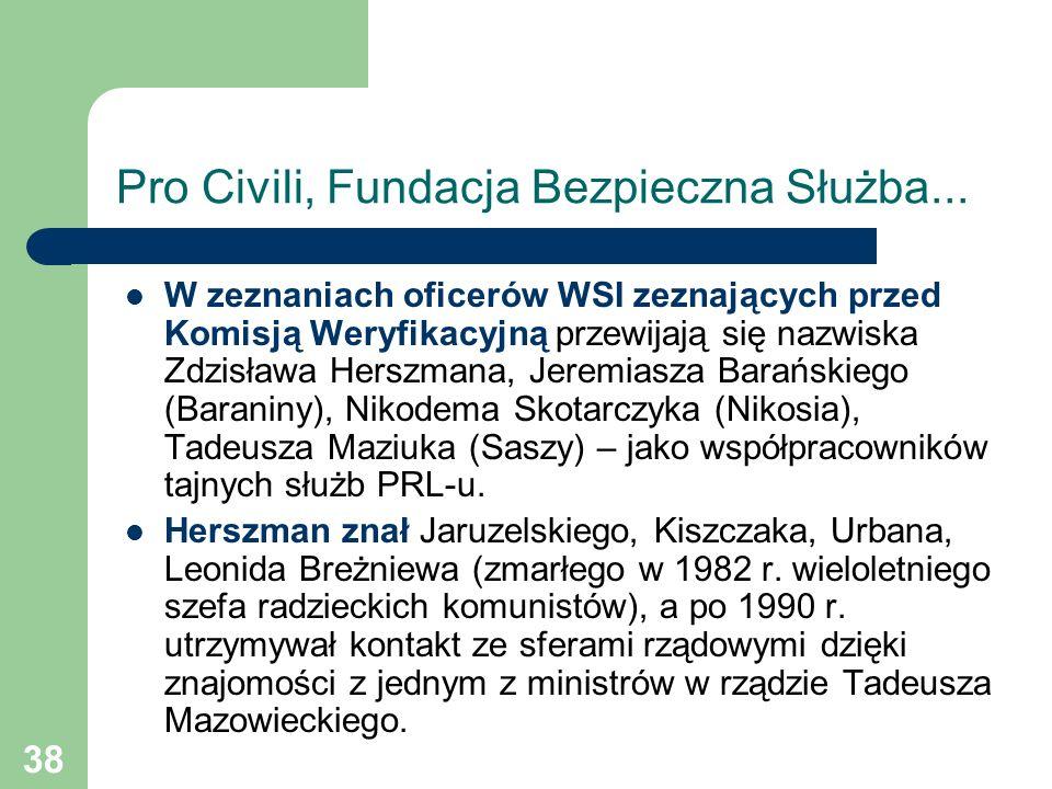38 Pro Civili, Fundacja Bezpieczna Służba... W zeznaniach oficerów WSI zeznających przed Komisją Weryfikacyjną przewijają się nazwiska Zdzisława Hersz
