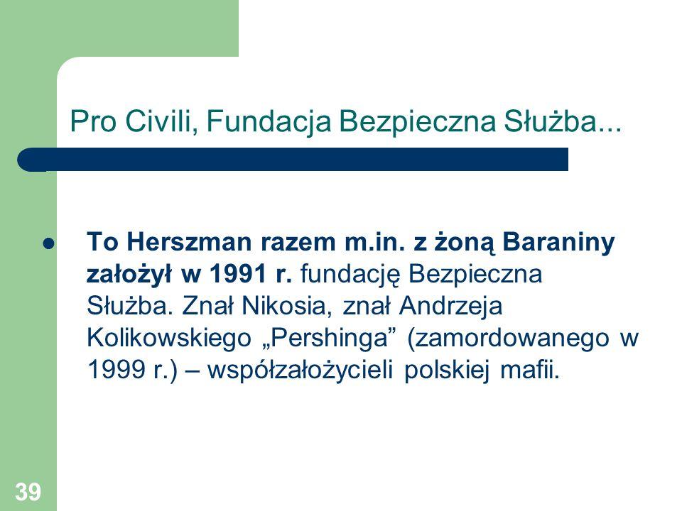 39 Pro Civili, Fundacja Bezpieczna Służba... To Herszman razem m.in. z żoną Baraniny założył w 1991 r. fundację Bezpieczna Służba. Znał Nikosia, znał