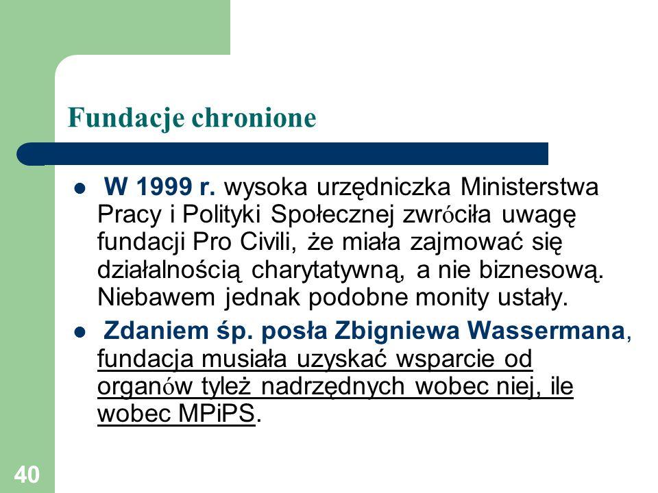 40 Fundacje chronione W 1999 r. wysoka urzędniczka Ministerstwa Pracy i Polityki Społecznej zwr ó ciła uwagę fundacji Pro Civili, że miała zajmować si