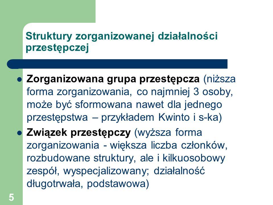 5 Struktury zorganizowanej działalności przestępczej Zorganizowana grupa przestępcza (niższa forma zorganizowania, co najmniej 3 osoby, może być sform