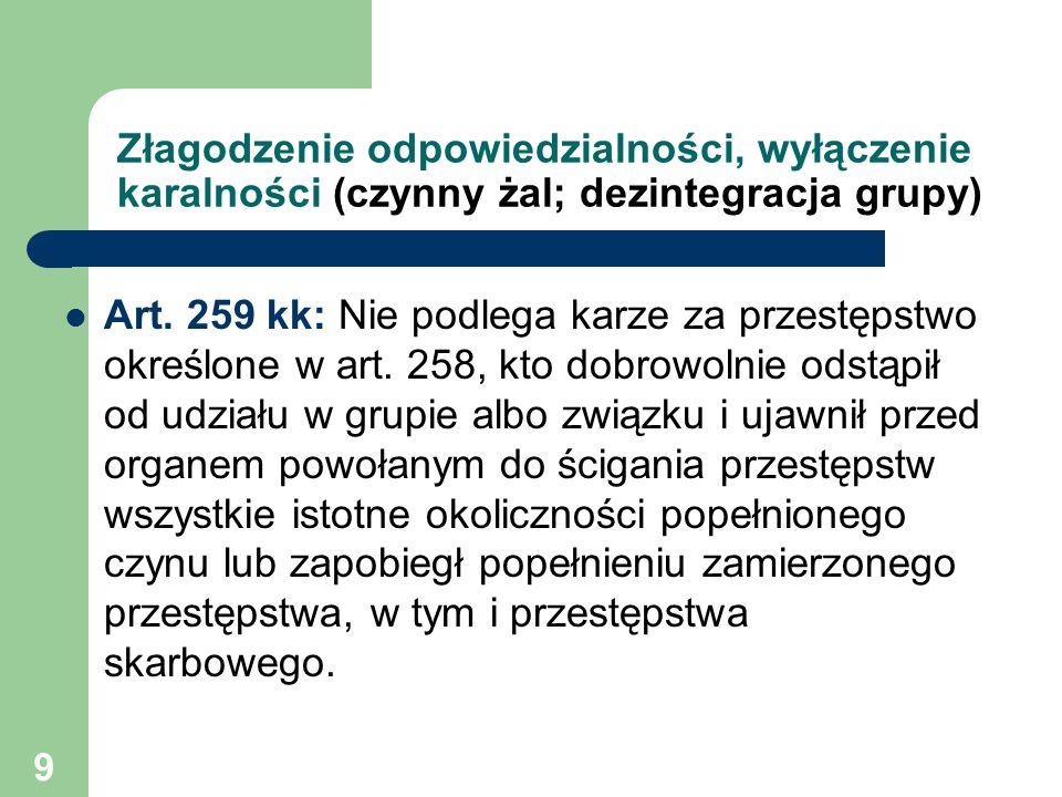 9 Złagodzenie odpowiedzialności, wyłączenie karalności (czynny żal; dezintegracja grupy) Art. 259 kk: Nie podlega karze za przestępstwo określone w ar