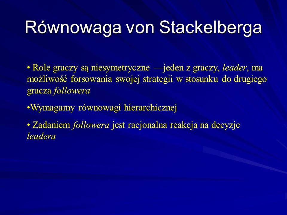 Równowaga von Stackelberga Role graczy są niesymetryczne jeden z graczy, leader, ma możliwość forsowania swojej strategii w stosunku do drugiego gracz