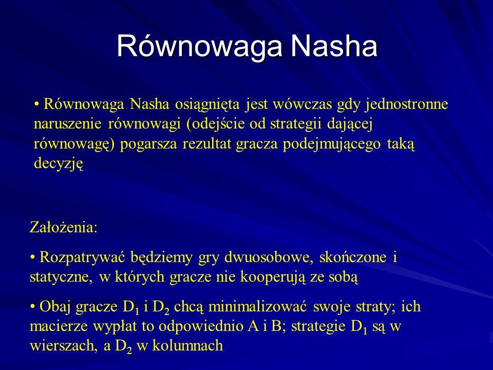 Równowaga Nasha osiągnięta jest wówczas gdy jednostronne naruszenie równowagi (odejście od strategii dającej równowagę) pogarsza rezultat gracza podej