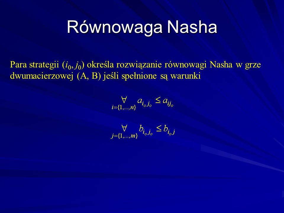 Para strategii (i 0, j 0 ) określa rozwiązanie równowagi Nasha w grze dwumacierzowej (A, B) jeśli spełnione są warunki