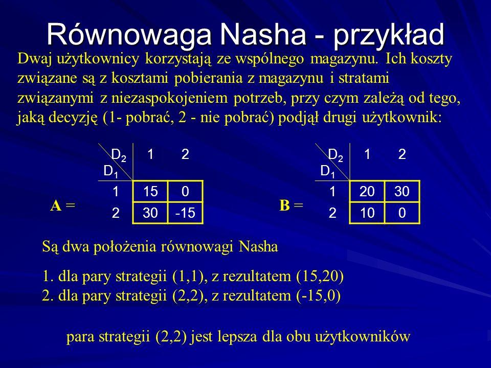 Przykład 1 Para (1,1) jest w równowadze von Stackelberga z D 1 jako leaderem z wynikiem (0,-1) Para (1,3) jest w równowadze von Stackelberga z D 2 jako leaderem z wynikiem (1.5, -0.75) D 2 D 1 123 1021.5 2113 322 A = D 2 D 1 123 11-0.75 2201 301-0.5 B = Para (2,2) jest w równowadze Nasha, wynik (1,0)