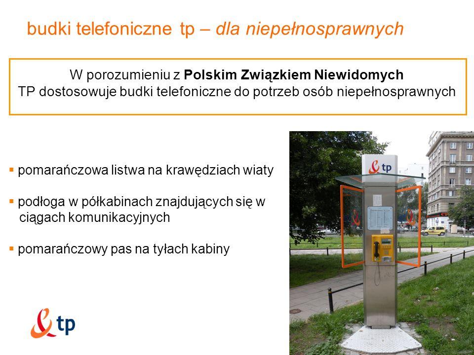budki telefoniczne tp – dla niepełnosprawnych pomarańczowa listwa na krawędziach wiaty podłoga w półkabinach znajdujących się w ciągach komunikacyjnyc