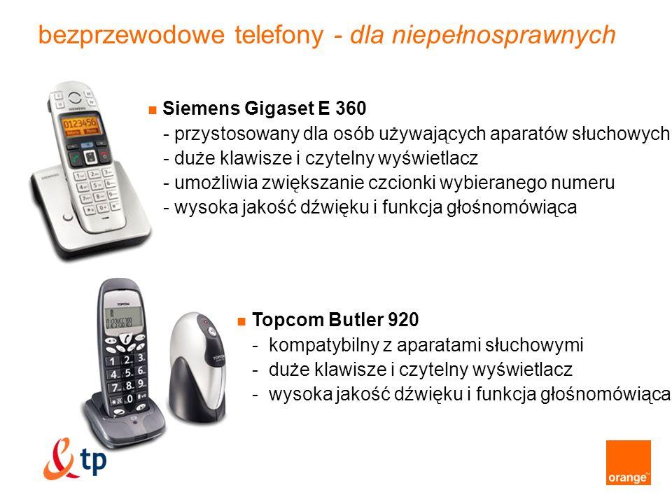 przewodowe telefony - dla niepełnosprawnych Topcom Fidelity 1081 - przycisk alarmowy z programowalnym numerem - optycznie sygnalizuje połączenie przychodzące - kompatybilny z aparatami słuchowymi - duże klawisze i podświetlony wyświetlacz Mescomp Blanka GT - słowna zapowiedź numeru przychodzącego - duże klawisze i podświetlany wyświetlacz - wysoka jakość dźwięku i funkcja głośnomówiąca