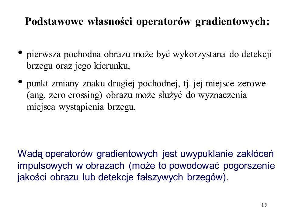 15 Podstawowe własności operatorów gradientowych: pierwsza pochodna obrazu może być wykorzystana do detekcji brzegu oraz jego kierunku, punkt zmiany znaku drugiej pochodnej, tj.
