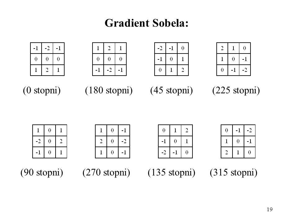 19 Gradient Sobela: (0 stopni)(180 stopni)(45 stopni)(225 stopni) (90 stopni)(270 stopni)(135 stopni)(315 stopni)