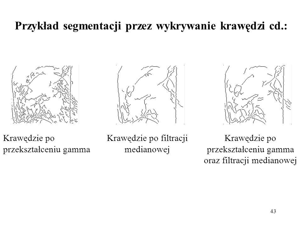 43 Przykład segmentacji przez wykrywanie krawędzi cd.: Krawędzie po przekształceniu gamma oraz filtracji medianowej Krawędzie po przekształceniu gamma