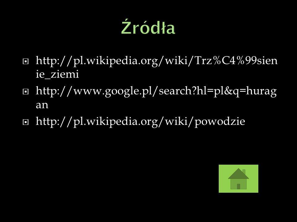 http://pl.wikipedia.org/wiki/Trz%C4%99sien ie_ziemi http://www.google.pl/search?hl=pl&q=hurag an http://pl.wikipedia.org/wiki/powodzie