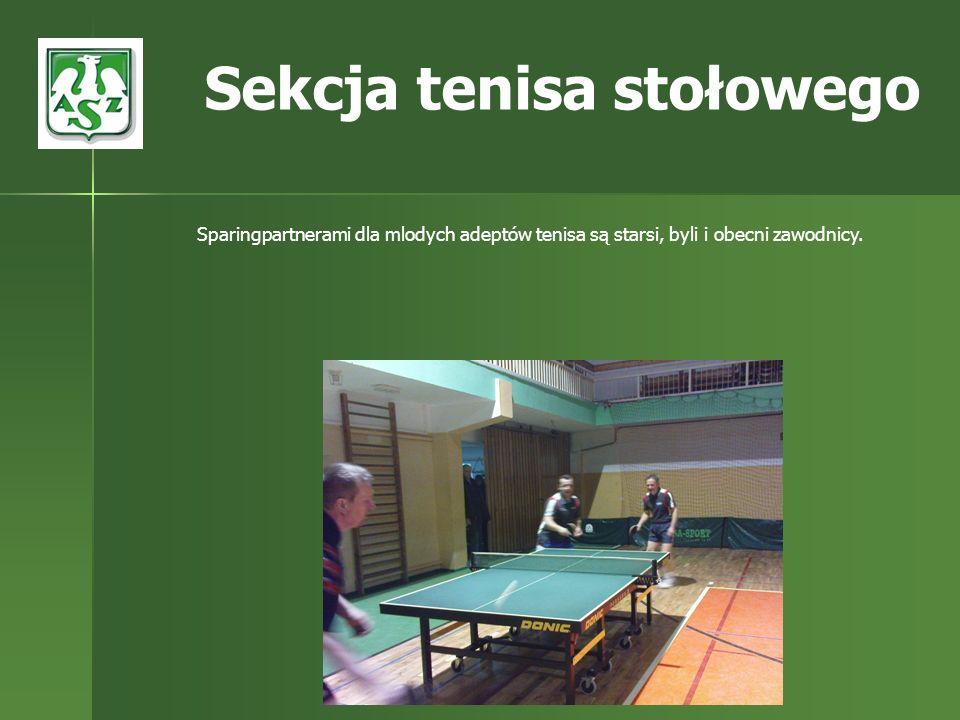 Sparingpartnerami dla mlodych adeptów tenisa są starsi, byli i obecni zawodnicy. Sekcja tenisa stołowego