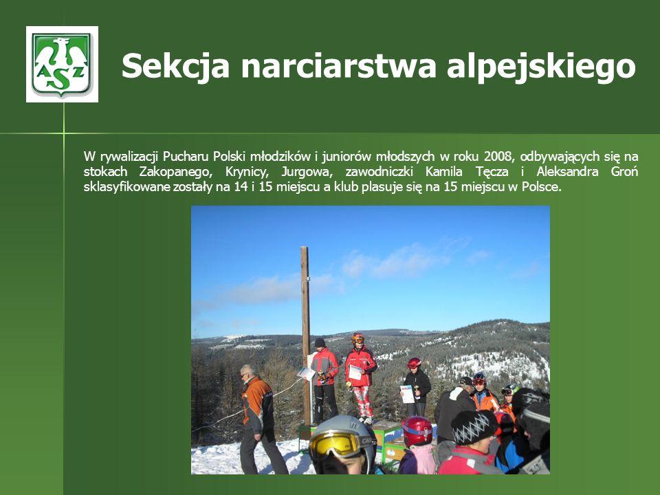 W rywalizacji Pucharu Polski młodzików i juniorów młodszych w roku 2008, odbywających się na stokach Zakopanego, Krynicy, Jurgowa, zawodniczki Kamila