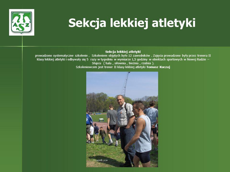 Sekcja lekkiej atletyki prowadzono systematyczne szkolenie. Szkoleniem objętych było 12 zawodników. Zajęcia prowadzone były przez trenera II klasy lek