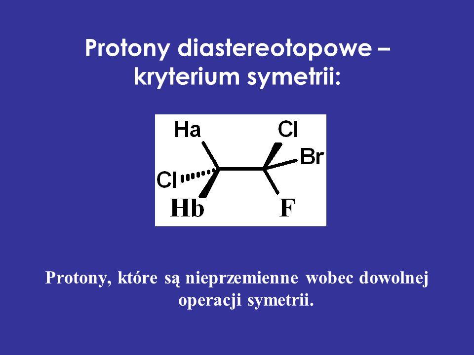 Protony diastereotopowe – kryterium symetrii: Protony, które są nieprzemienne wobec dowolnej operacji symetrii.