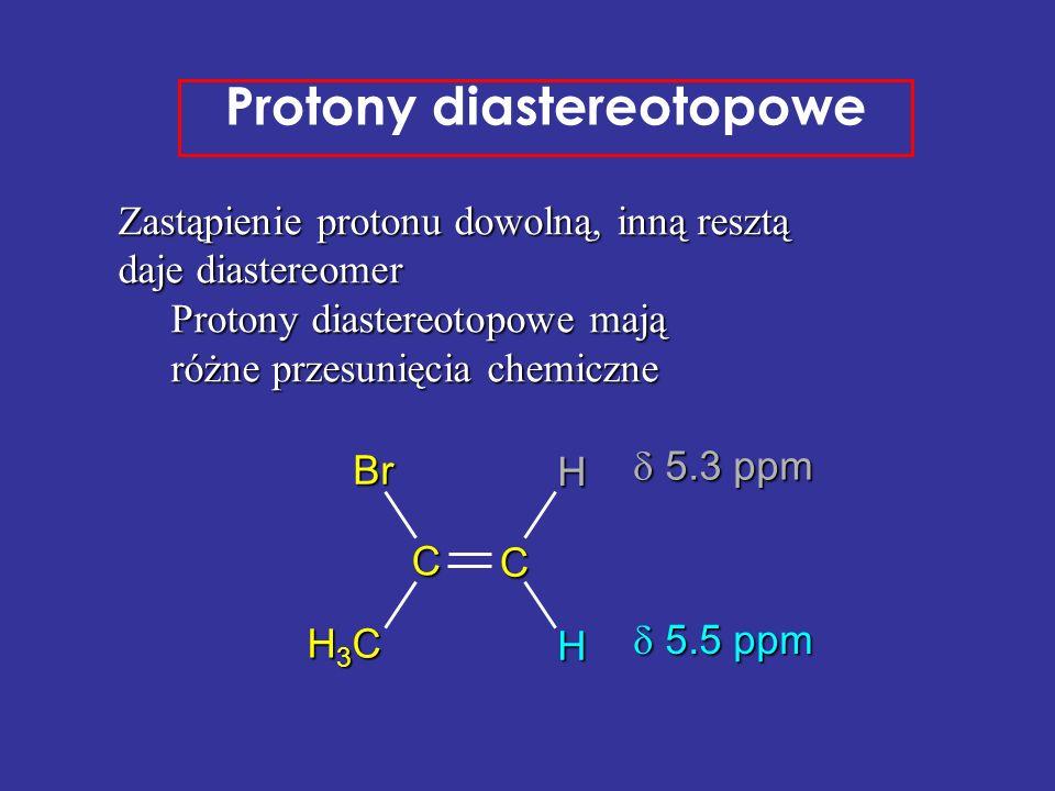 Zastąpienie protonu dowolną, inną resztą daje diastereomer Protony diastereotopowe mają różne przesunięcia chemiczne Protony diastereotopowe C CBr H3C