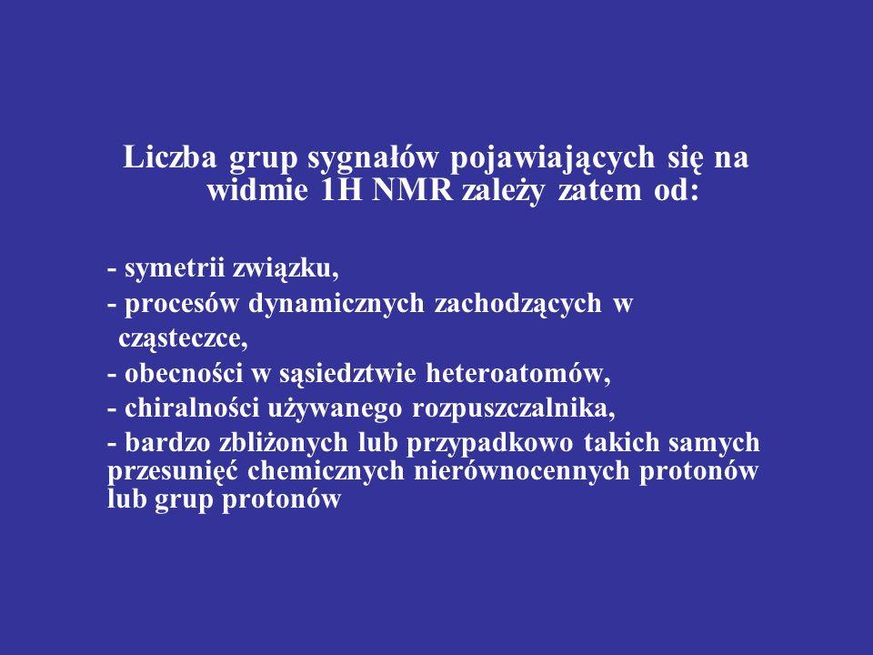 Liczba grup sygnałów pojawiających się na widmie 1H NMR zależy zatem od: - symetrii związku, - procesów dynamicznych zachodzących w cząsteczce, - obec