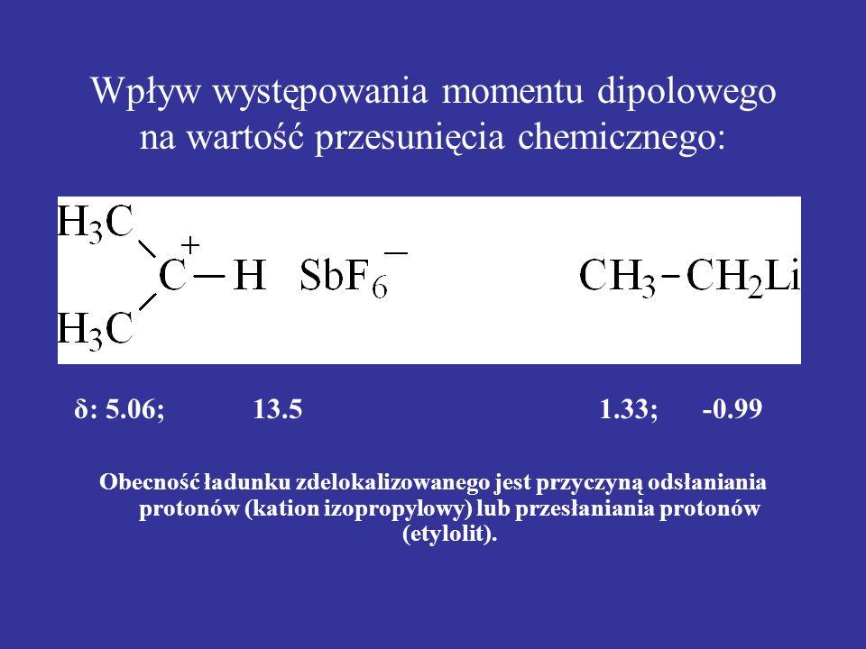 Wpływ występowania momentu dipolowego na wartość przesunięcia chemicznego: δ: 5.06; 13.5 1.33; -0.99 Obecność ładunku zdelokalizowanego jest przyczyną