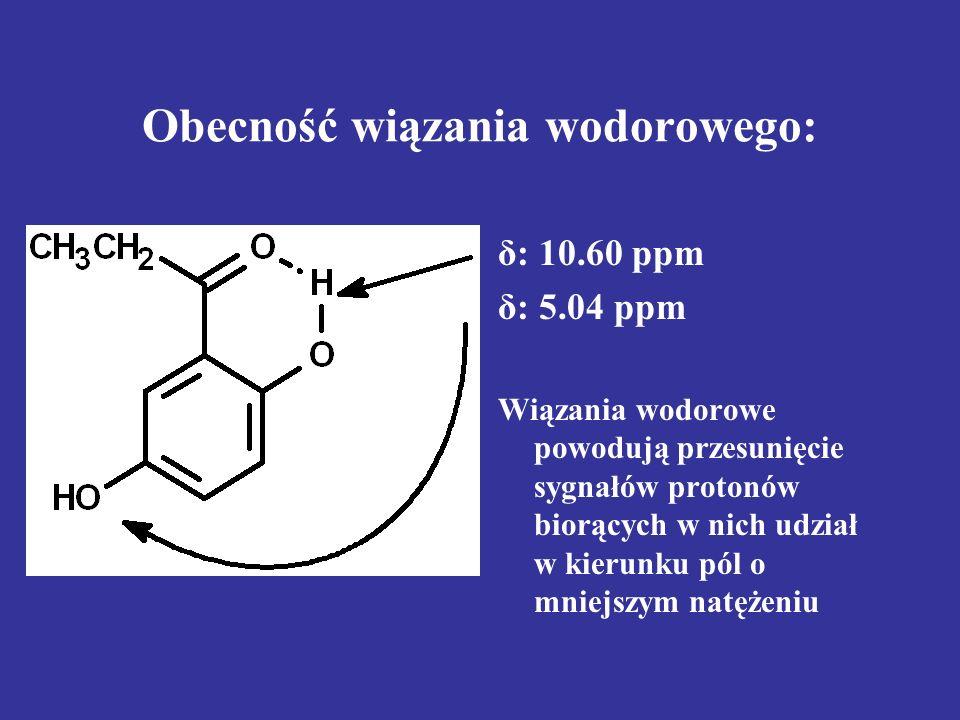 Obecność wiązania wodorowego: δ: 10.60 ppm δ: 5.04 ppm Wiązania wodorowe powodują przesunięcie sygnałów protonów biorących w nich udział w kierunku pó