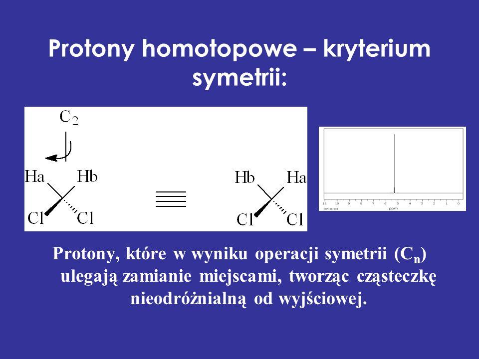 Protony homotopowe – kryterium symetrii: Protony, które w wyniku operacji symetrii (C n ) ulegają zamianie miejscami, tworząc cząsteczkę nieodróżnialn