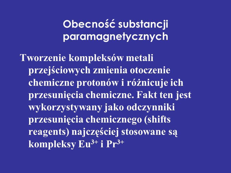 Obecność substancji paramagnetycznych Tworzenie kompleksów metali przejściowych zmienia otoczenie chemiczne protonów i różnicuje ich przesunięcia chem