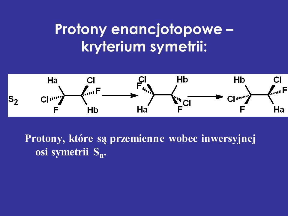 Protony enancjotopowe – kryterium symetrii: Protony, które są przemienne wobec inwersyjnej osi symetrii S n.