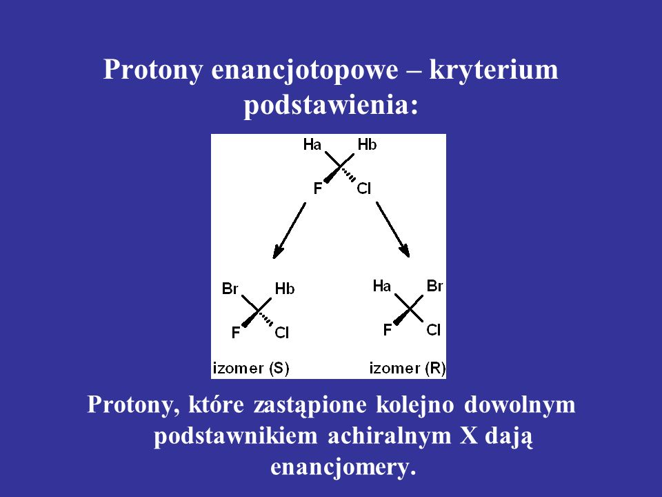 Protony enancjotopowe – kryterium podstawienia: Protony, które zastąpione kolejno dowolnym podstawnikiem achiralnym X dają enancjomery.