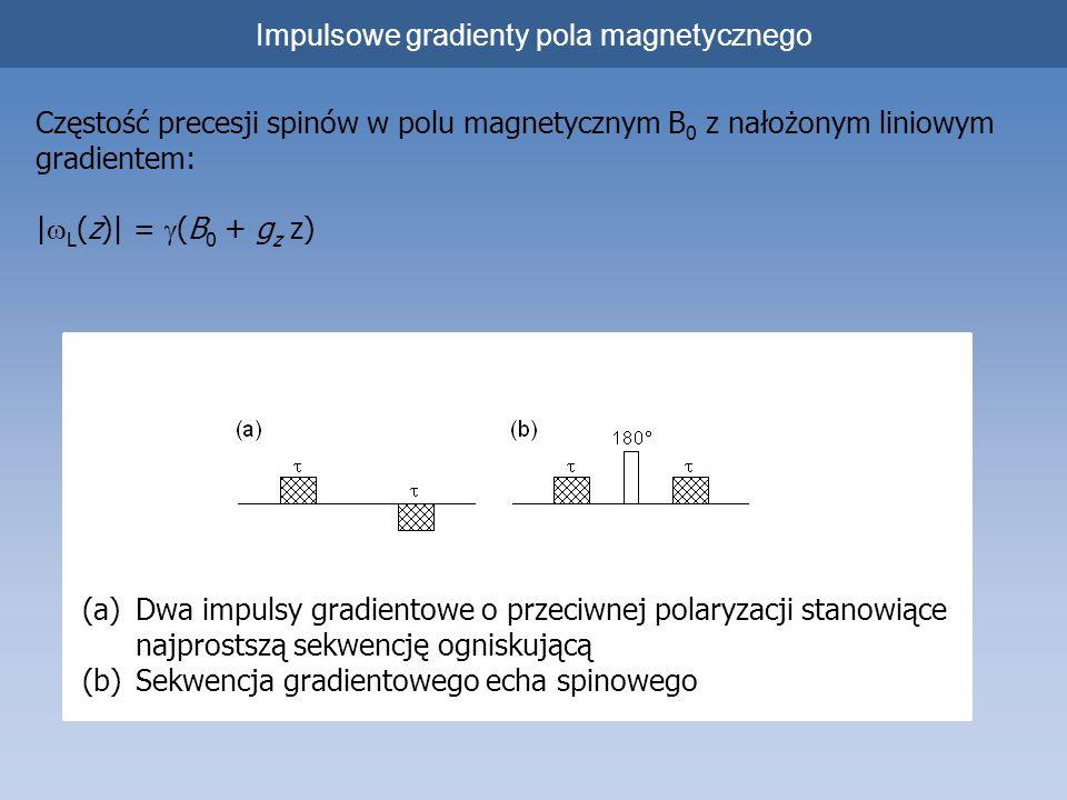 Impulsowe gradienty pola magnetycznego Częstość precesji spinów w polu magnetycznym B 0 z nałożonym liniowym gradientem: | L (z)| = (B 0 + g z z) (a)D