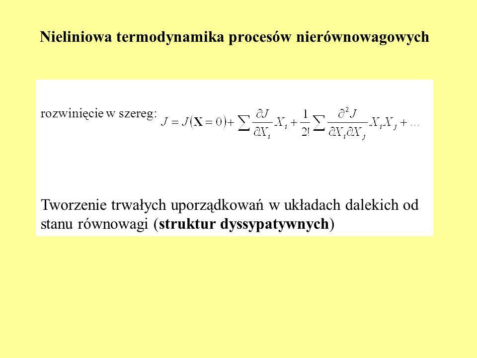 rozwinięcie w szereg: Tworzenie trwałych uporządkowań w układach dalekich od stanu równowagi (struktur dyssypatywnych) Nieliniowa termodynamika proces