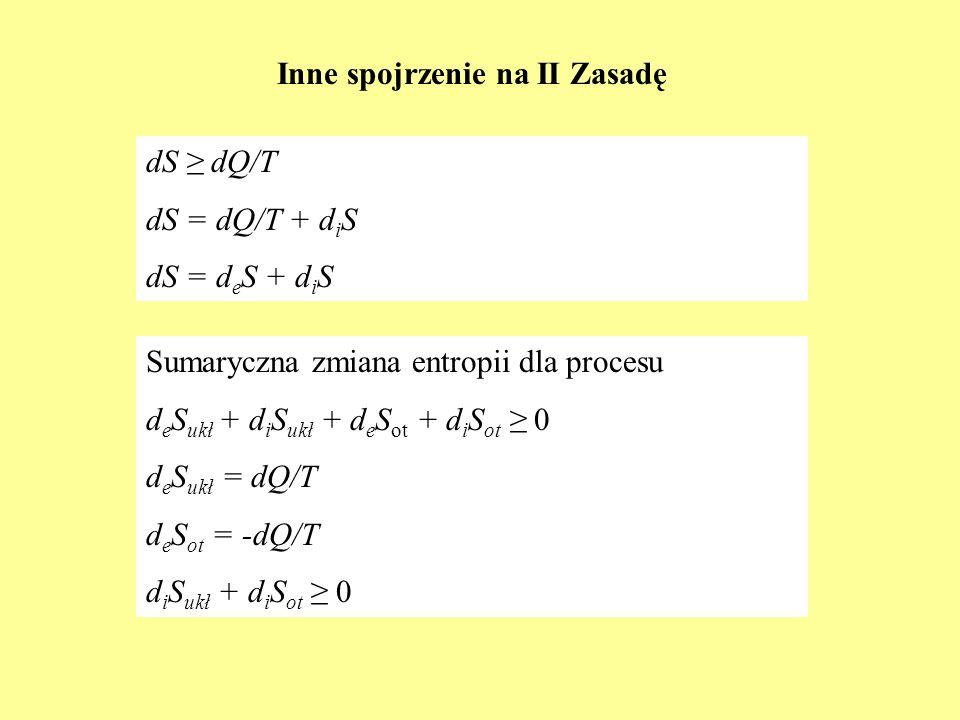 Inne spojrzenie na II Zasadę dS dQ/T dS = dQ/T + d i S dS = d e S + d i S Sumaryczna zmiana entropii dla procesu d e S ukł + d i S ukł + d e S ot + d