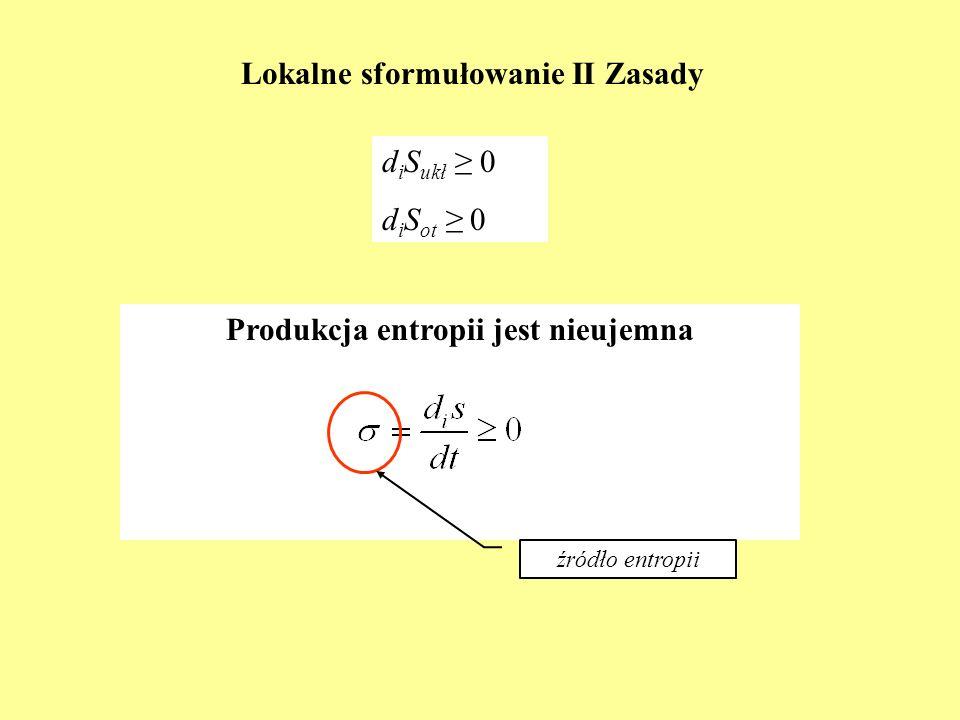 Lokalne sformułowanie II Zasady d i S ukł 0 d i S ot 0 Produkcja entropii jest nieujemna źródło entropii