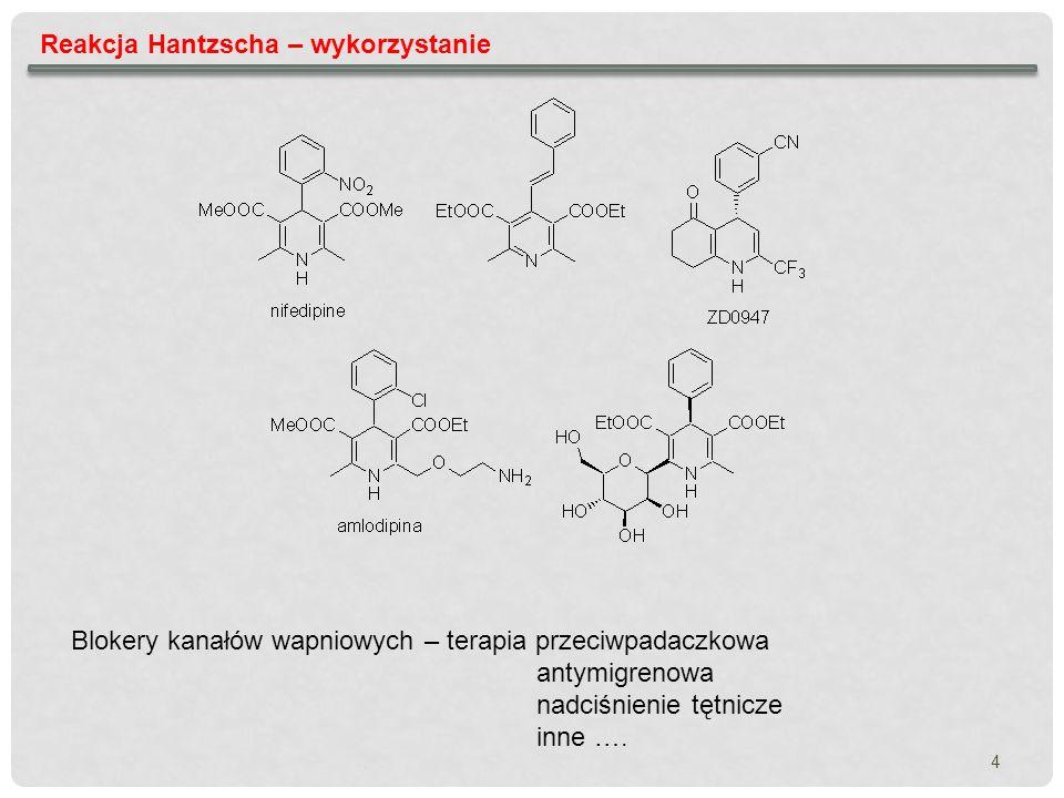 5 Reakcja Hantzscha – modyfikacje niesymetryczne 1,4- dihydropirydyny Bossert F., Meyer H.,Wehinger E.