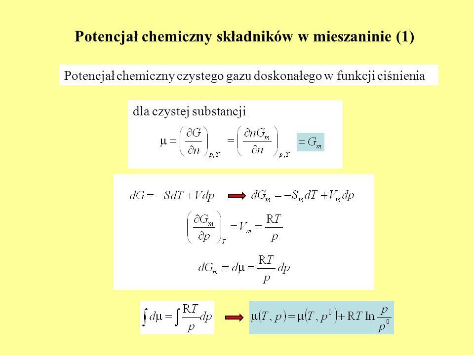 Przykład z życia (2) 2N 2(g) + O 2(g) = 2N 2 O (g) nionio xixi 1N 2(g) n1on1o 2O 2(g) n2on2o 3N 2 O (g) n3on3o n 1 o - 2ξ n 2 o - ξ n 3 o + 2ξ n i = n 1 o + n 2 o + n 3 o - ξ (n 1 o - 2ξ)/ n i (n 2 o – ξ)/ n i (n 3 o + 2ξ)/ n i Rozwiązać to równanie względem ξ Uwaga na wielość pierwiastków!