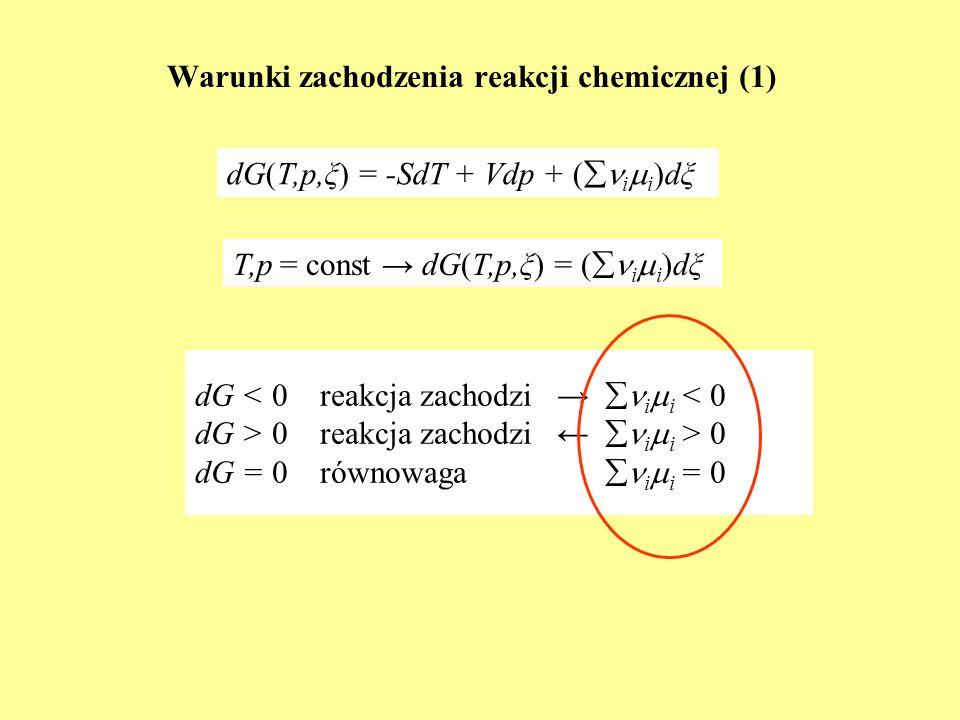 Warunki zachodzenia reakcji chemicznej (1) dG < 0 reakcja zachodzi i i < 0 dG > 0 reakcja zachodzi i i > 0 dG = 0 równowaga i i = 0 dG(T,p,ξ) = -SdT +