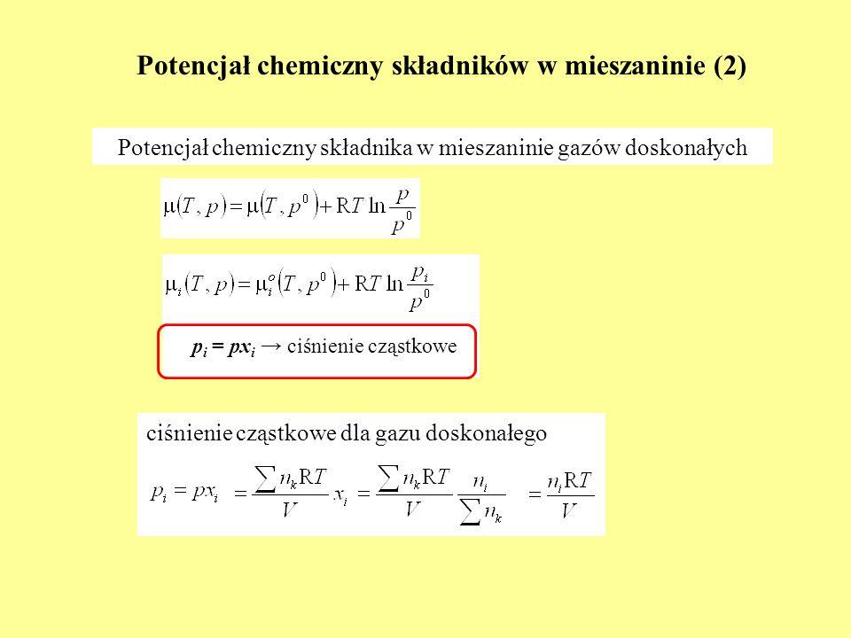 Potencjał chemiczny składników w mieszaninie (3) Potencjał chemiczny składnika w mieszaninie rzeczywistej (1) ϕ i = f i /p i f i = lotność p 0 f i p i f i = p i ϕ i ϕ i - współczynnik lotności p 0 ϕ i 1