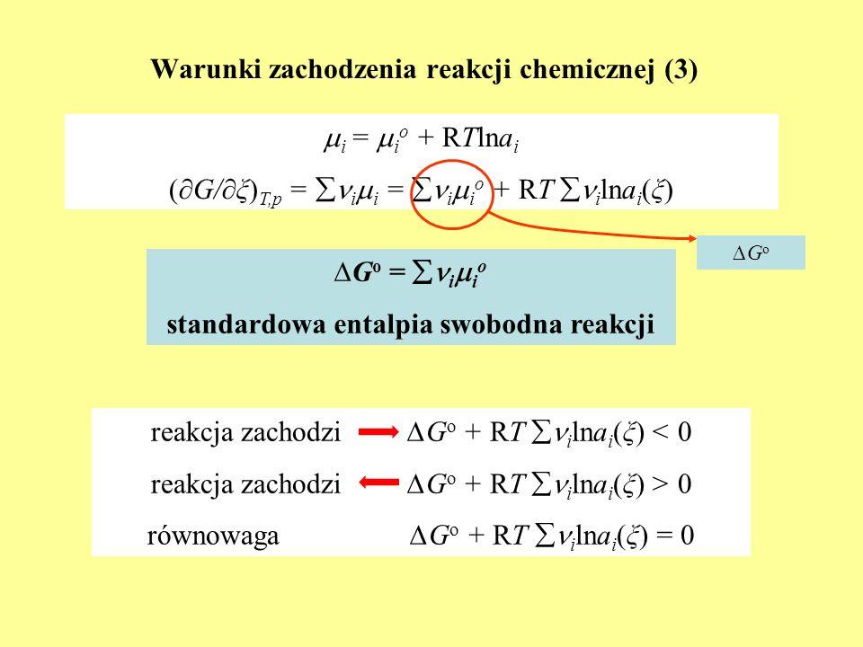 Warunki zachodzenia reakcji chemicznej (3) i = i o + RTlna i (G/ξ) T,p = i i = i i o + RT i lna i (ξ) GoGo G o = i i o standardowa entalpia swobodna r