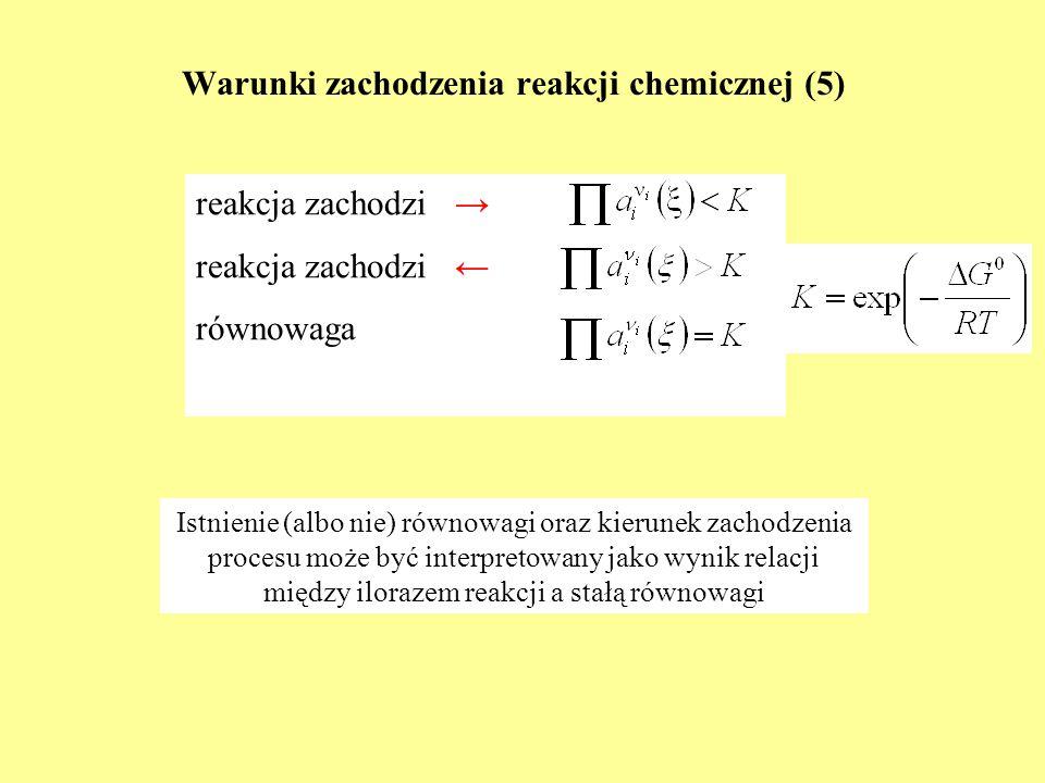 Warunki zachodzenia reakcji chemicznej (5) reakcja zachodzi reakcja zachodzi równowaga Istnienie (albo nie) równowagi oraz kierunek zachodzenia proces